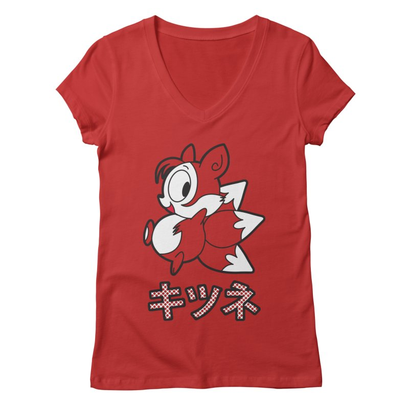 Katakana Kitsune Women's Regular V-Neck by Kappacino Creations