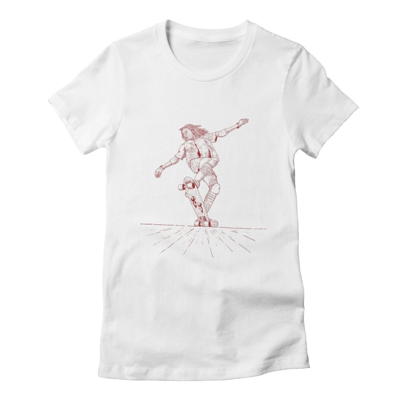 Skater linea Red Women's Fitted T-Shirt by · STUDI X-LEE ·