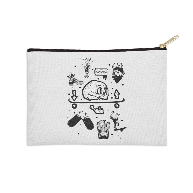 Calavera Pictogrames Accessories Zip Pouch by INK. ALPINA