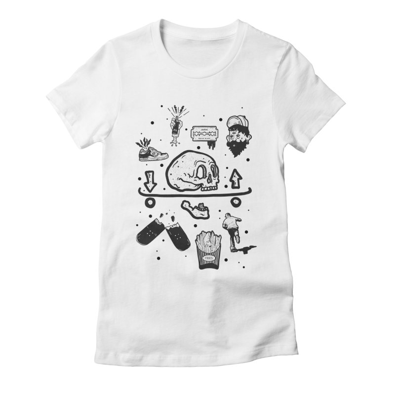 Calavera Pictogrames Women's Fitted T-Shirt by · STUDI X-LEE ·