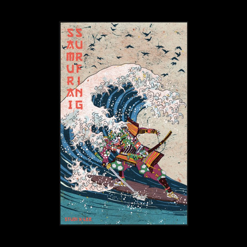 Samurai Surfing Home Framed Fine Art Print by · STUDI X-LEE ·