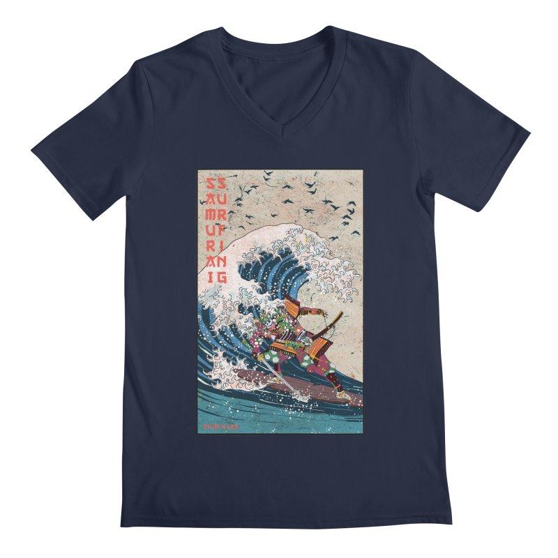 Samurai Surfing Men's V-Neck by · STUDI X-LEE ·