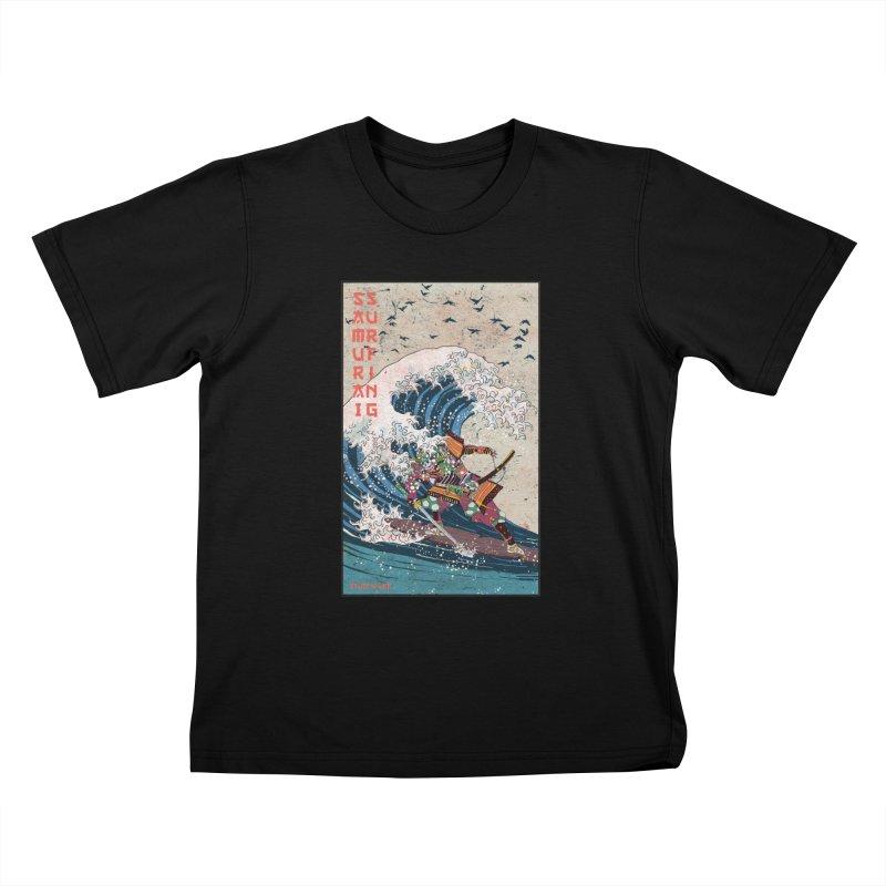 Samurai Surfing Kids T-Shirt by INK. ALPINA