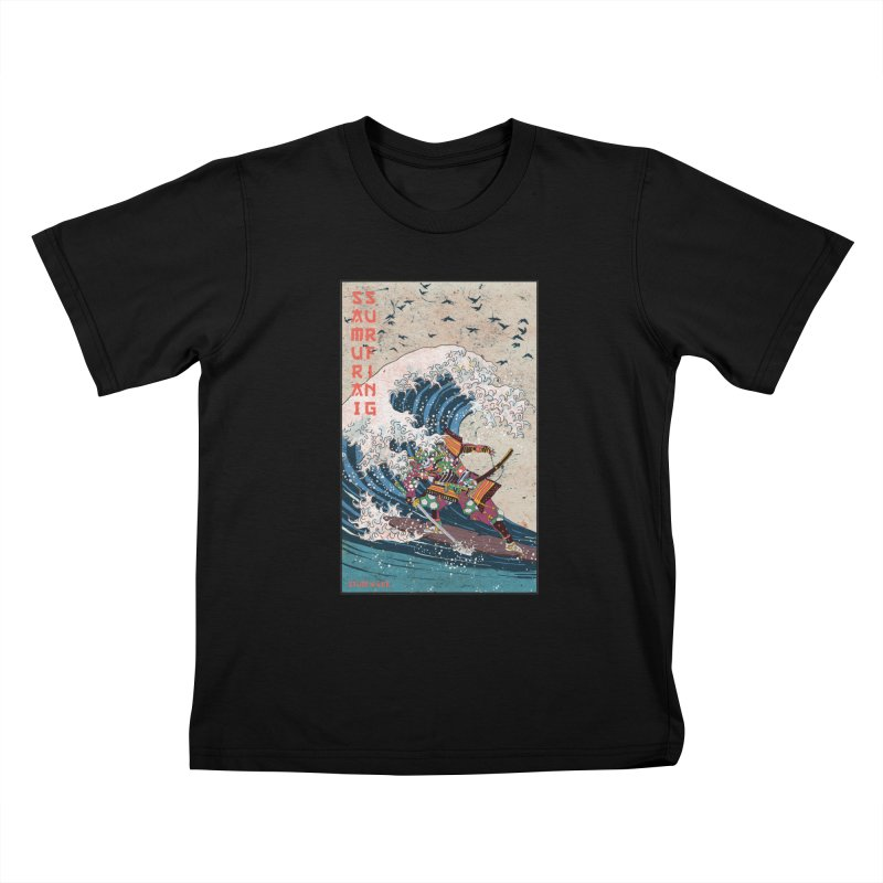 Samurai Surfing Kids T-Shirt by · STUDI X-LEE ·