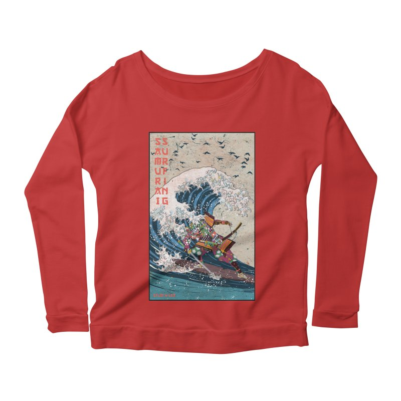 Samurai Surfing Women's Scoop Neck Longsleeve T-Shirt by INK. ALPINA