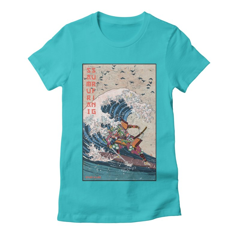 Samurai Surfing Women's Fitted T-Shirt by INK. ALPINA