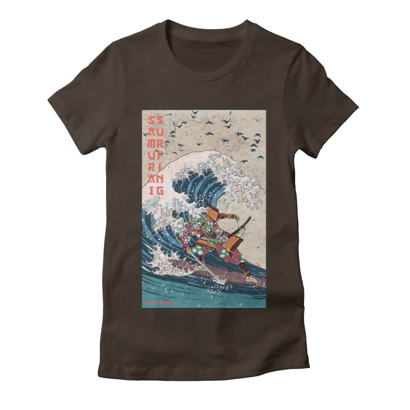 Samurai Surfing Women's Fitted T-Shirt by · STUDI X-LEE ·