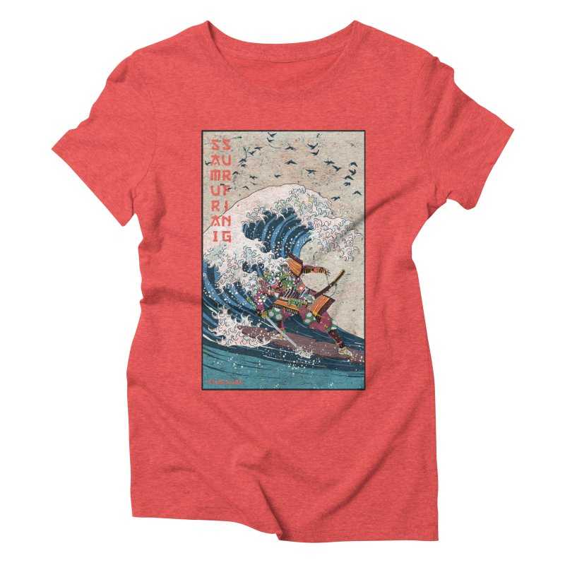 Samurai Surfing Women's Triblend T-Shirt by · STUDI X-LEE ·