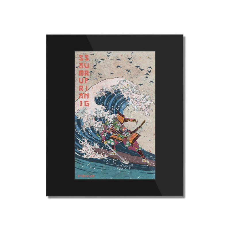 Samurai Surfing Home Mounted Acrylic Print by · STUDI X-LEE ·