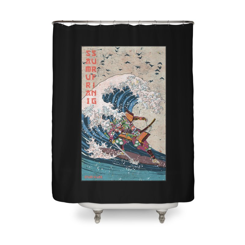 Samurai Surfing Home Shower Curtain by INK. ALPINA