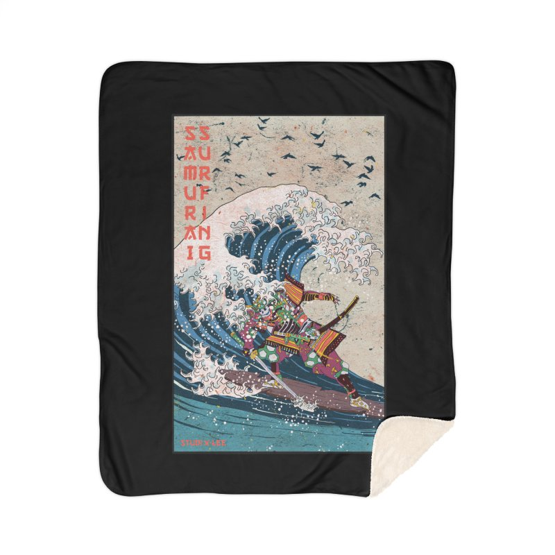 Samurai Surfing Home Sherpa Blanket Blanket by · STUDI X-LEE ·