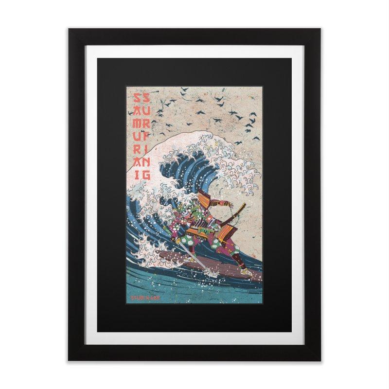 Samurai Surfing Home Framed Fine Art Print by · STUDI X-LEE ·