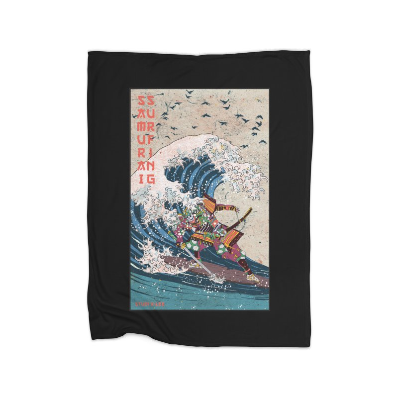 Samurai Surfing Home Blanket by INK. ALPINA