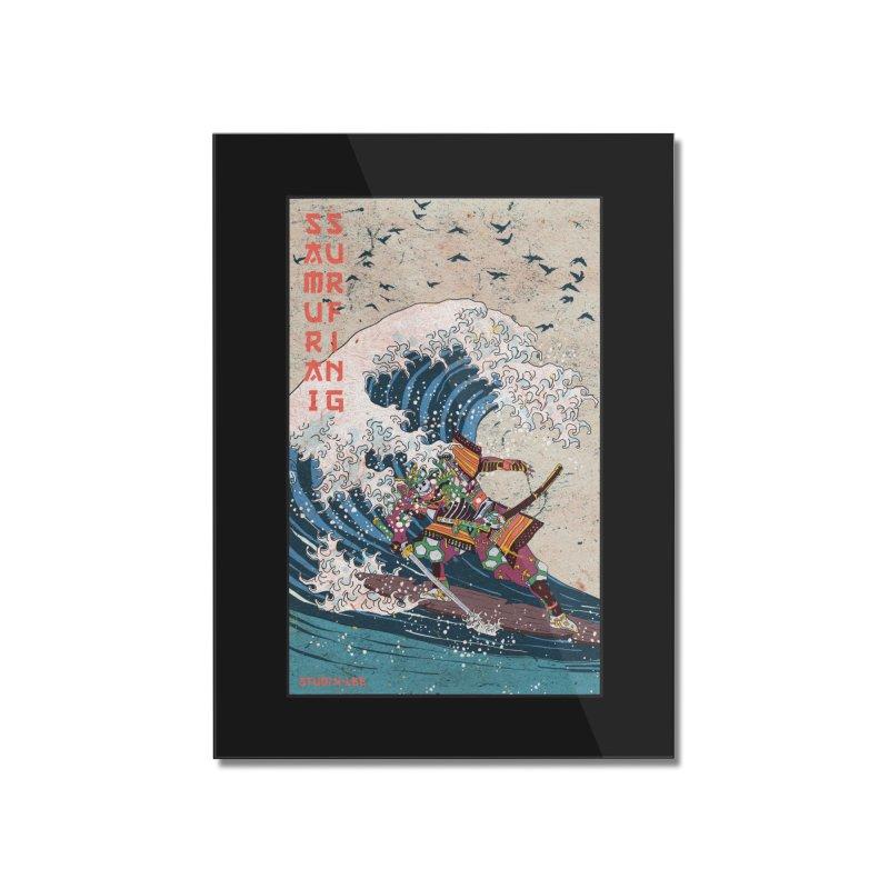 Samurai Surfing Home Mounted Acrylic Print by · STUDI X-LEE ·