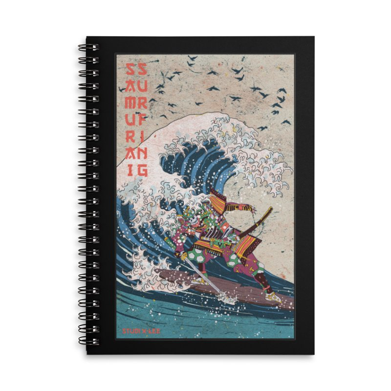 Samurai Surfing Accessories Lined Spiral Notebook by · STUDI X-LEE ·