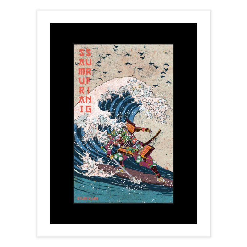 Samurai Surfing Home Fine Art Print by INK. ALPINA
