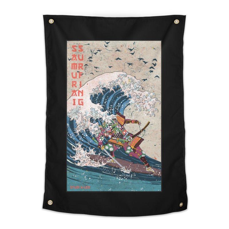 Samurai Surfing Home Tapestry by INK. ALPINA