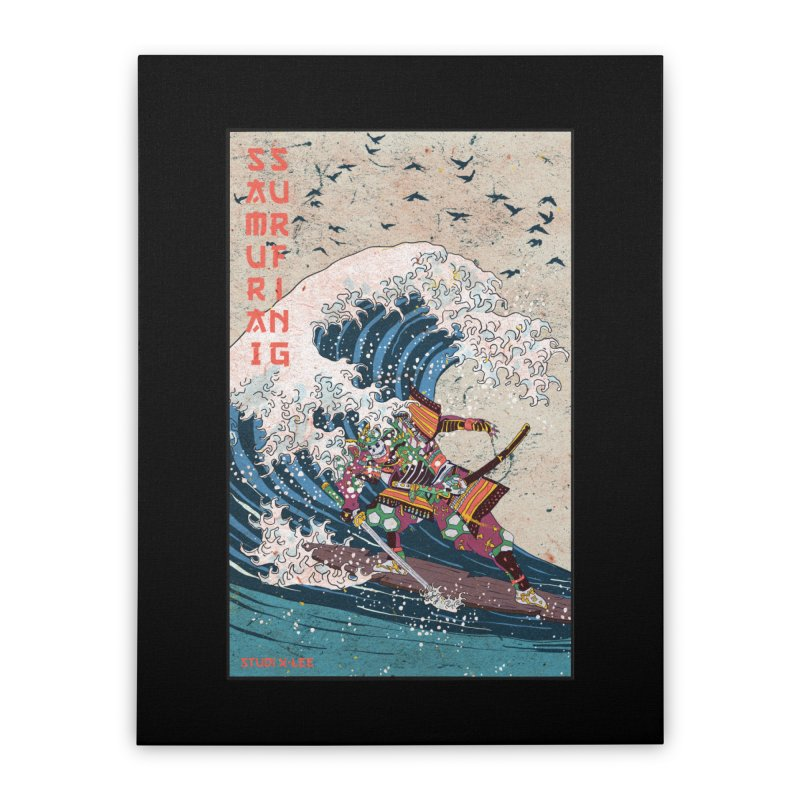 Samurai Surfing Home Stretched Canvas by INK. ALPINA