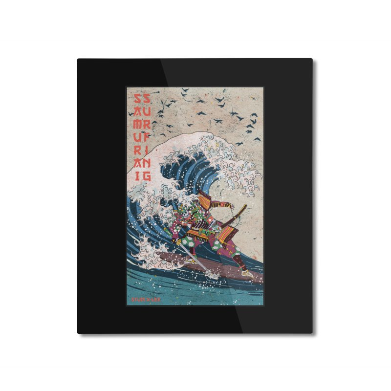Samurai Surfing Home Mounted Aluminum Print by · STUDI X-LEE ·