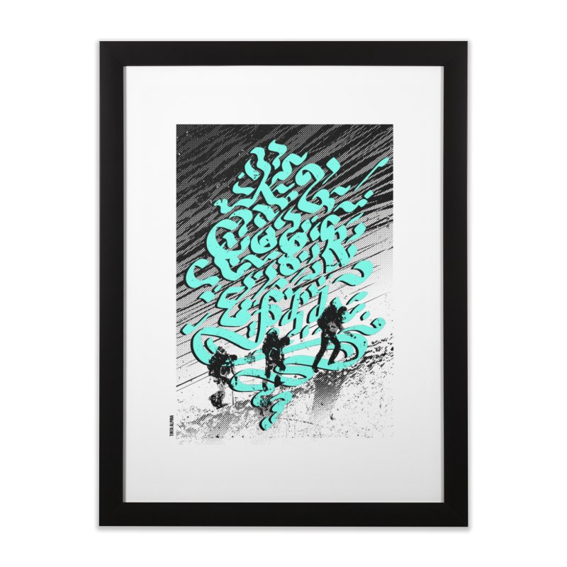Alpinistes K2 Home Framed Fine Art Print by INK. ALPINA