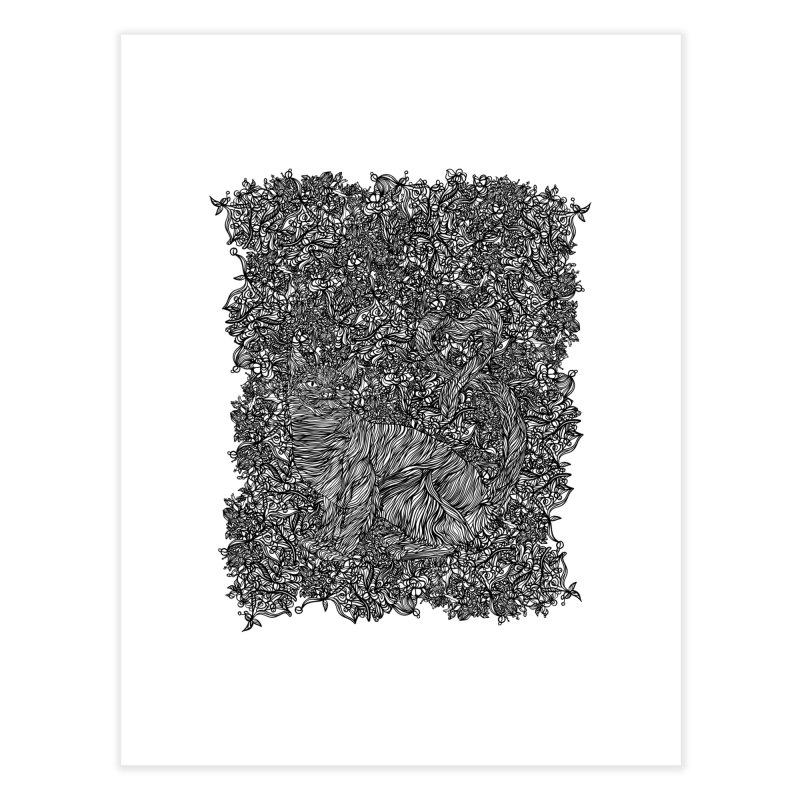 Cat in the garden Home Fine Art Print by · STUDI X-LEE ·