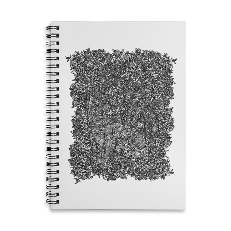 Cat in the garden Accessories Lined Spiral Notebook by · STUDI X-LEE ·