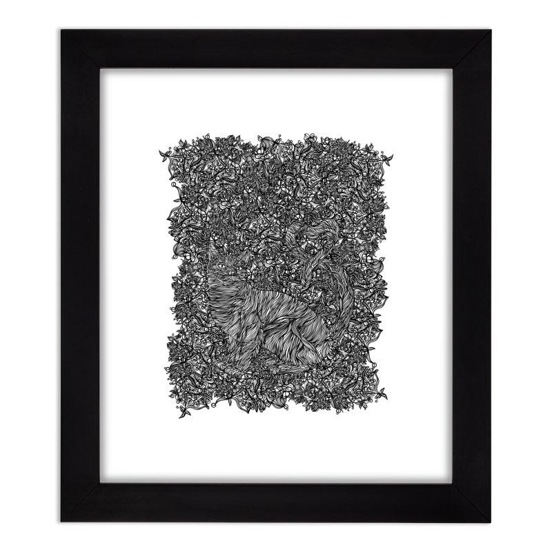 Cat in the garden Home Framed Fine Art Print by · STUDI X-LEE ·