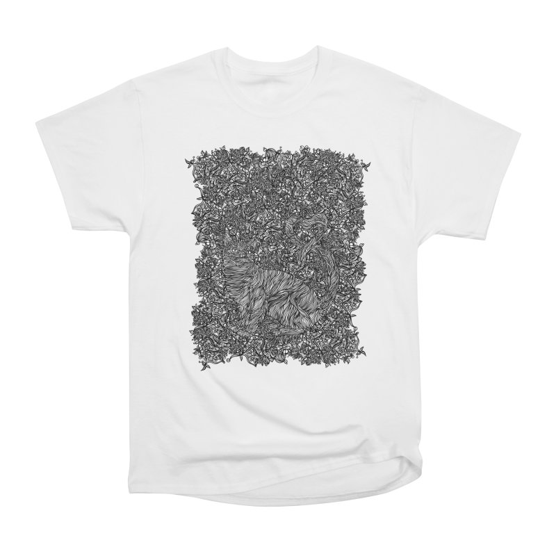 Cat in the garden Women's Heavyweight Unisex T-Shirt by · STUDI X-LEE ·