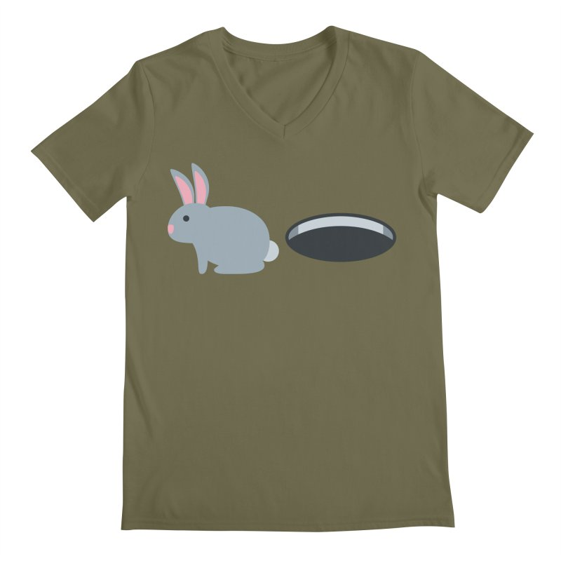 Rabbit Hole Emoji Men's Regular V-Neck by XpressYourPower Shop