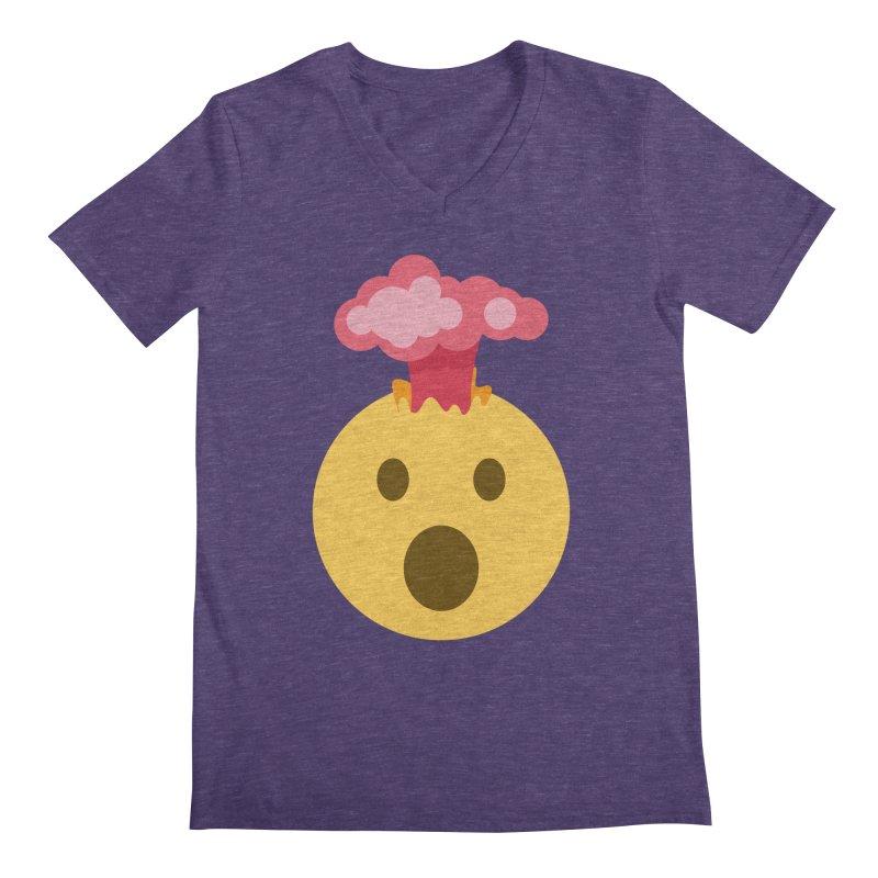 Mind Blown Emoji Men's Regular V-Neck by XpressYourPower Shop