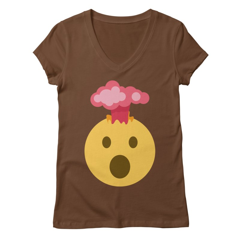 Mind Blown Emoji Women's Regular V-Neck by XpressYourPower Shop