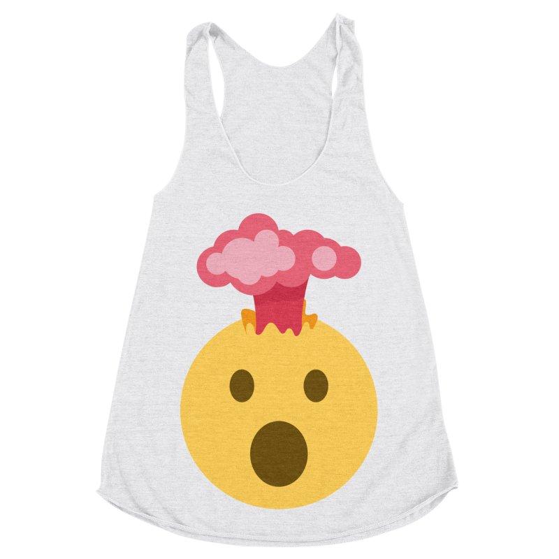 Mind Blown Emoji Women's Racerback Triblend Tank by XpressYourPower Shop