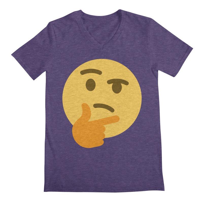 Thinking Emoji Men's Regular V-Neck by XpressYourPower Shop
