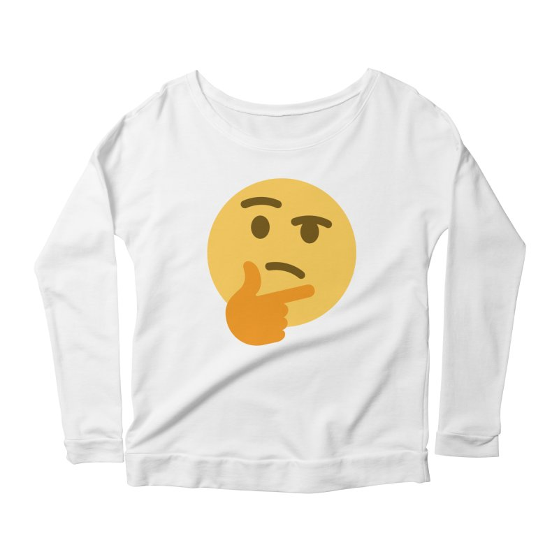 Thinking Emoji Women's Scoop Neck Longsleeve T-Shirt by XpressYourPower Shop