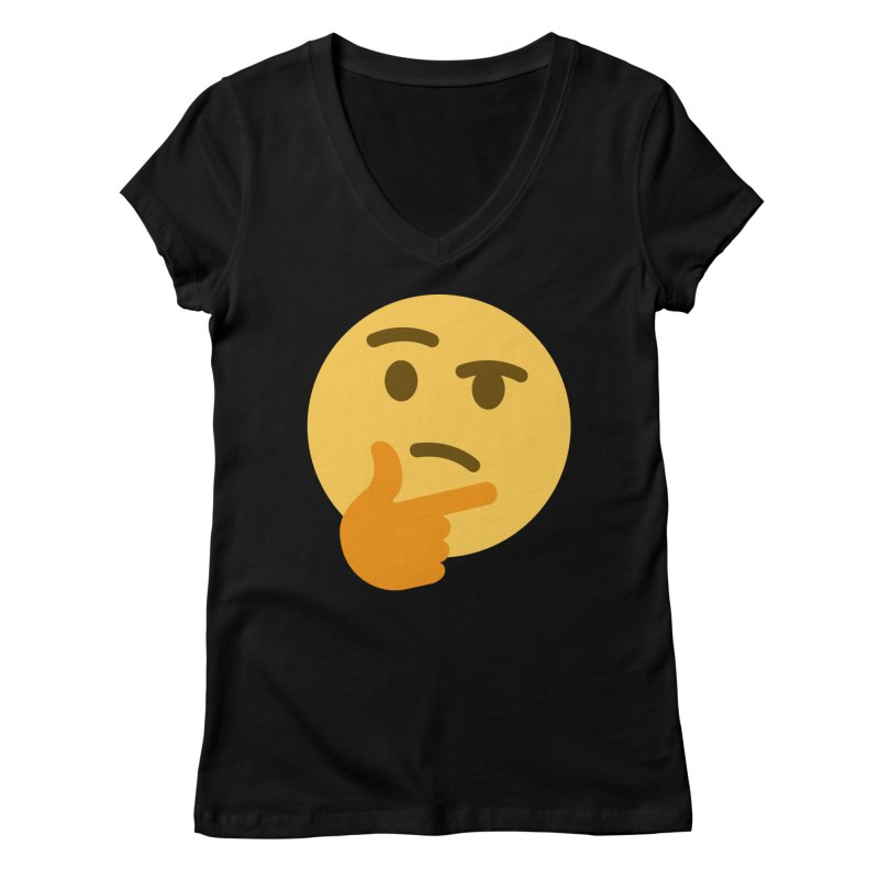 Thinking Emoji Women's Regular V-Neck by XpressYourPower Shop