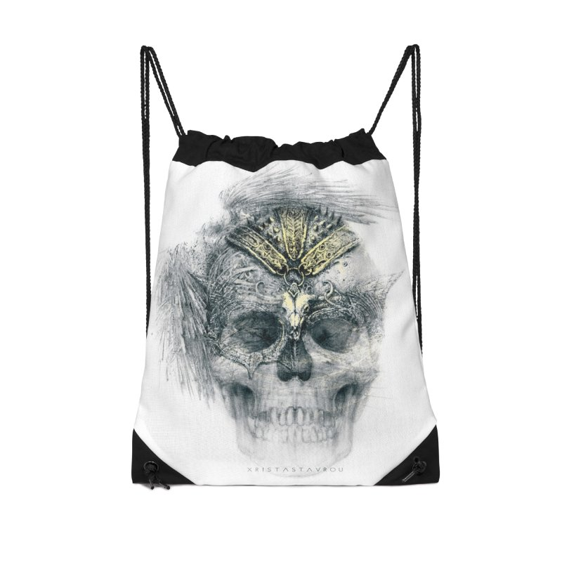Skull Warrior Accessories Drawstring Bag Bag by xristastavrou