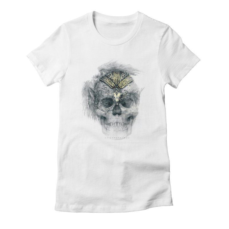 Skull Warrior Women's Fitted T-Shirt by xristastavrou