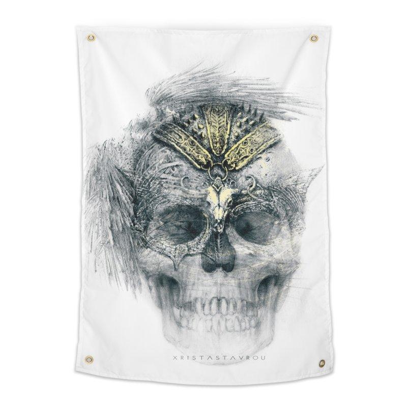 Skull Warrior Home Tapestry by xristastavrou