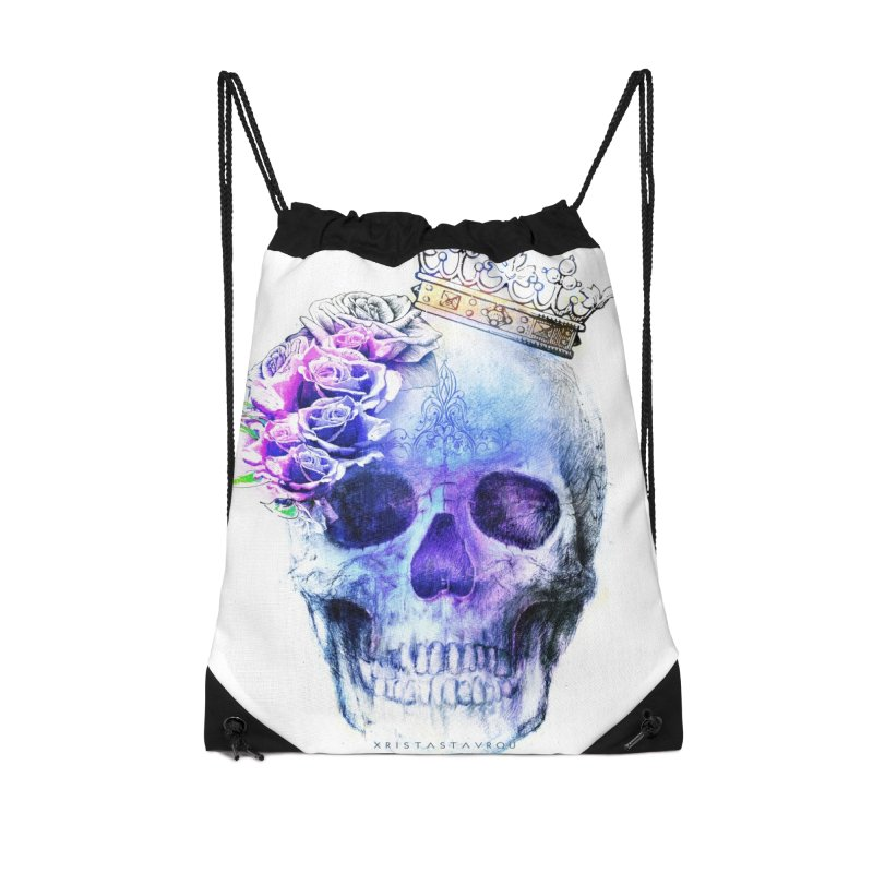 Skull Queen Blue Accessories Drawstring Bag Bag by xristastavrou