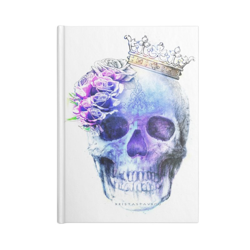 Skull Queen Blue Accessories Lined Journal Notebook by xristastavrou
