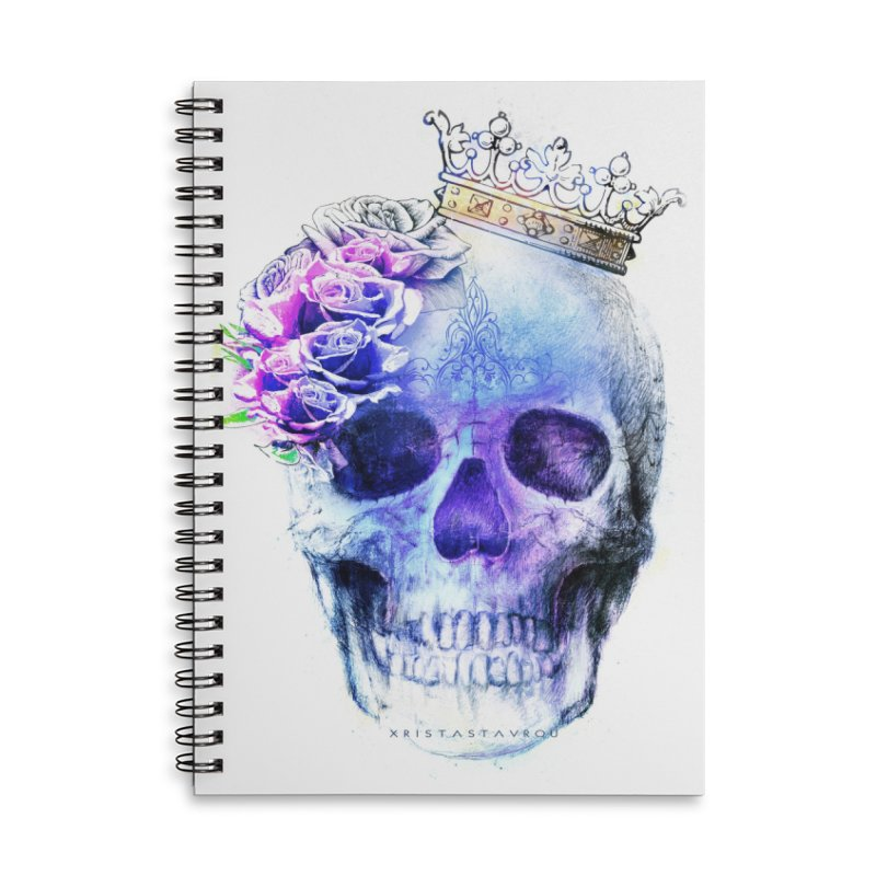 Skull Queen Blue Accessories Lined Spiral Notebook by xristastavrou
