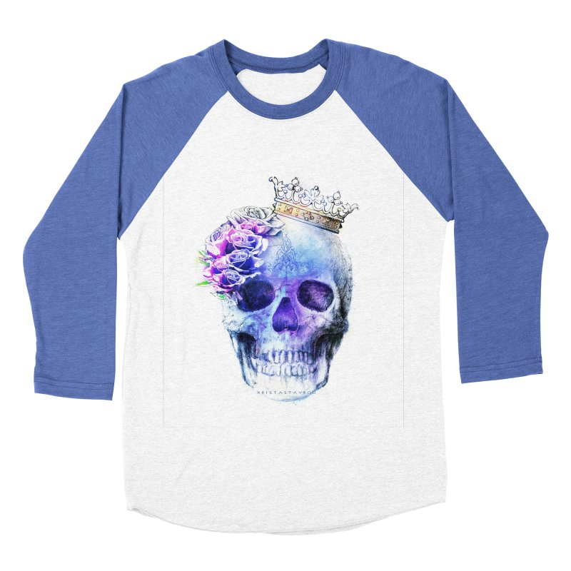 Skull Queen Blue Women's Baseball Triblend Longsleeve T-Shirt by xristastavrou