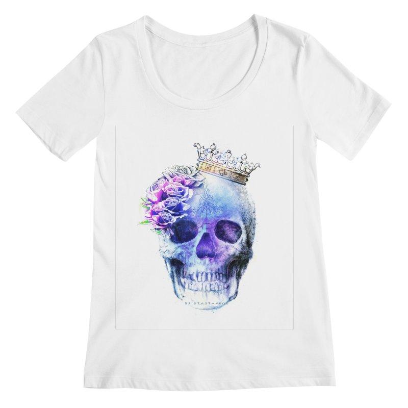 Skull Queen Blue Women's Regular Scoop Neck by xristastavrou