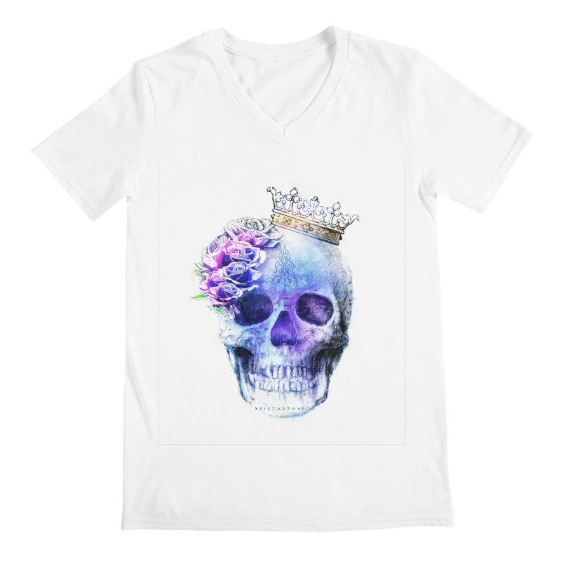 Skull Queen Blue Men's Regular V-Neck by xristastavrou