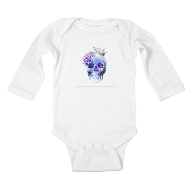 Skull Queen Blue Kids Baby Longsleeve Bodysuit by xristastavrou