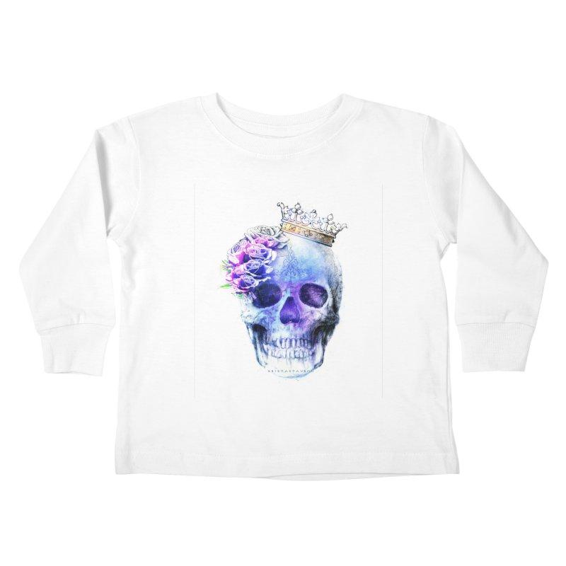 Skull Queen Blue Kids Toddler Longsleeve T-Shirt by xristastavrou