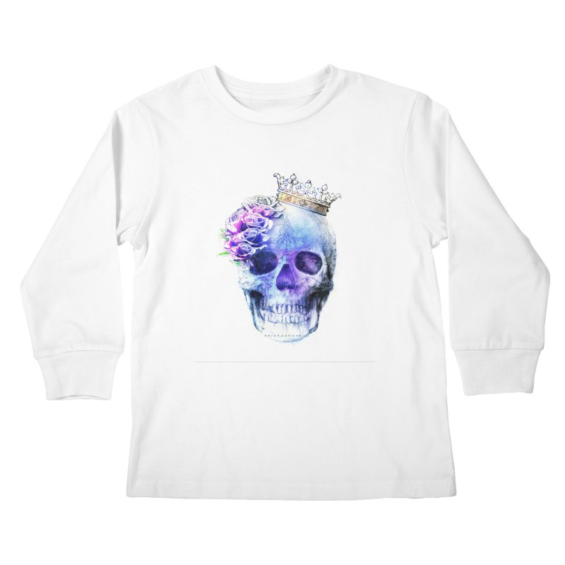 Skull Queen Blue Kids Longsleeve T-Shirt by xristastavrou