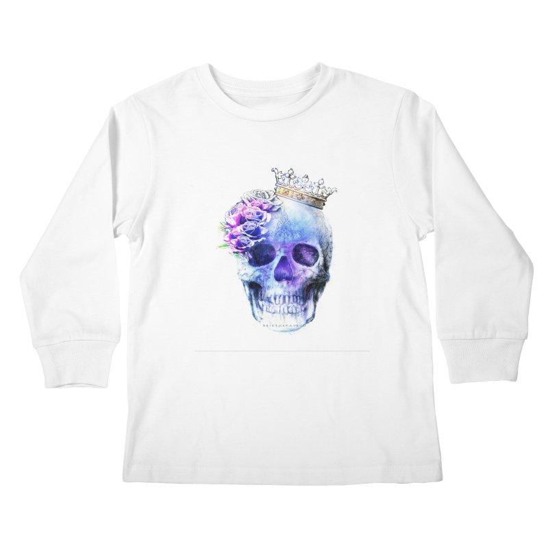 Skull Queen Blue Kids Longsleeve T-Shirt by xristastavrou