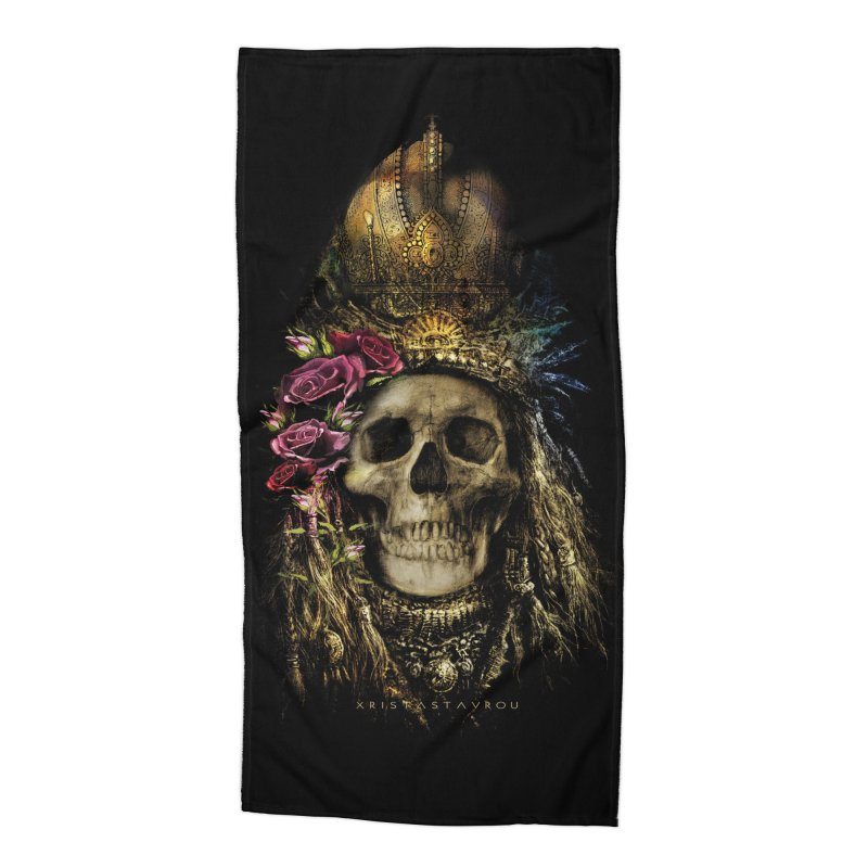 Skull Queen with Roses V2 Accessories Beach Towel by xristastavrou
