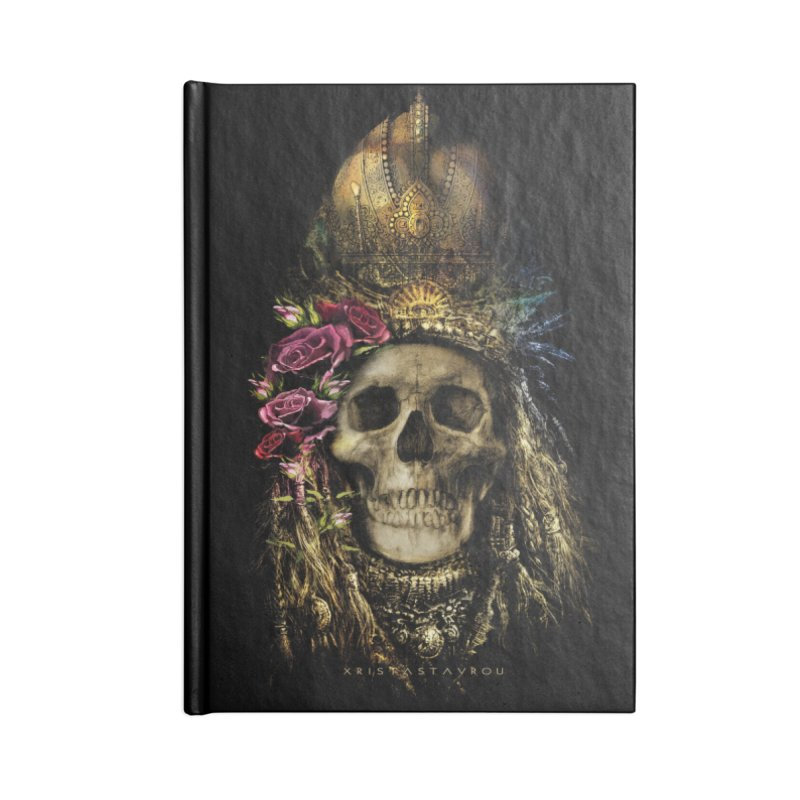 Skull Queen with Roses V2 Accessories Lined Journal Notebook by xristastavrou
